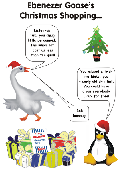 Christmas card 2009. Ebenezer Goose does his Christmas Shopping