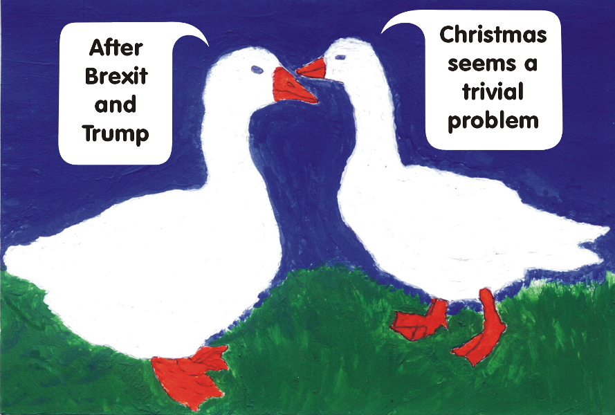 Political geese, lamenting over Brexit and Trump. Painted by Susannah Dora Majlati, 2016
