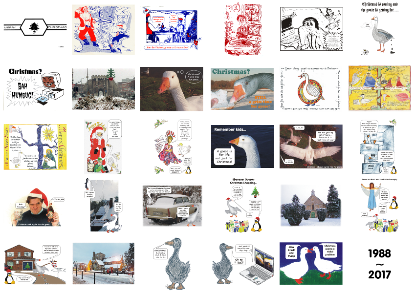 Collage looking back over thirty years of Garf Technology Christmas cards